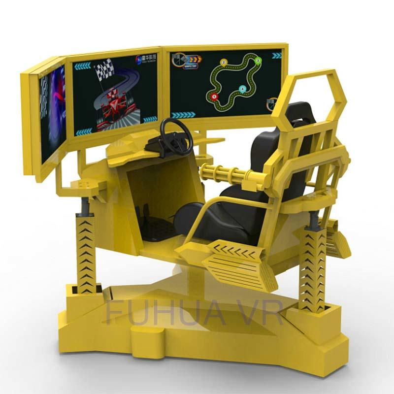 Indoor Game Center 3 Screen Racing Car Simulator With 6 DOF Motion System