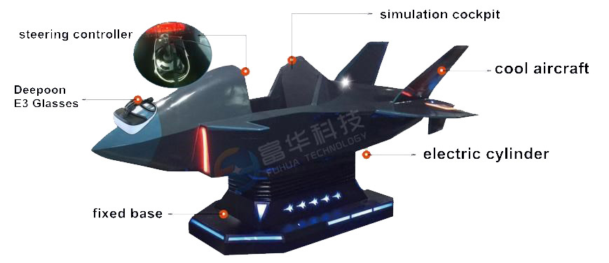 Interactive VR Flight Game Fighter Aircraft Fiberglass Warplane Cockpit-2