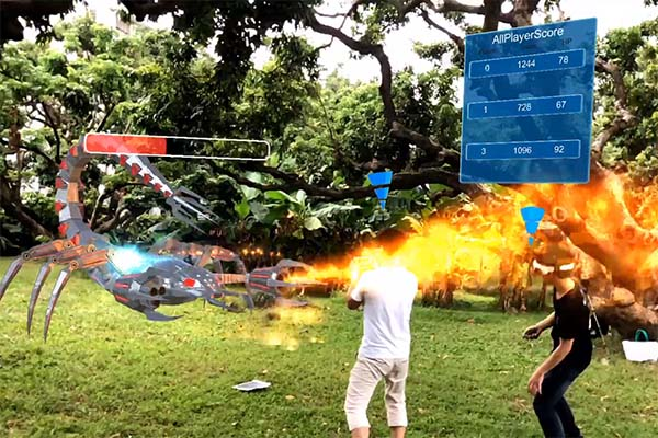 Wireless mixed reality games multiplayer Realistic Effect for tourist attractions-3