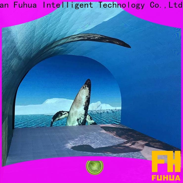 Transparent curved projection screen stage manufacture for theme parks