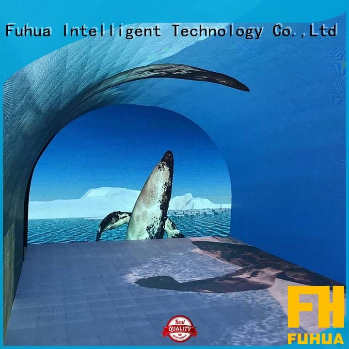Fuhua automatic 180 degree curved projection screen floor for aquariums